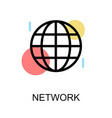 network icon with sphere on white background vector image
