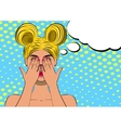 Pop art scared blond woman face vector image