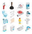 Sanitary engineering isometric 3d icons vector image