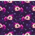 Seamless pattern with cute cartoon girl fish vector image