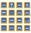transportation icons set blue vector image