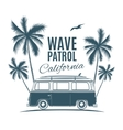 Vintage retro surf van with palms and a gull vector image