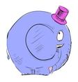 Cartoon elephant in top-hat vector image