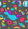 seamless pattern with unicorns donuts rainbow vector image