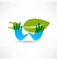 Environmental socket blue hands icon vector image vector image