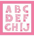Pink fabric letters A B C D F G H I J vector image