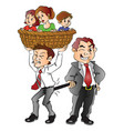 boss pulling back employee from family vector image