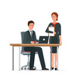 businessman and woman works together vector image
