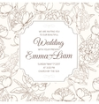 Wedding invitation card peony paeonia flower brown vector image