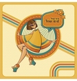 card with girl in retro style vector image vector image