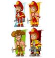 cartoon fireman in uniform character set vector image
