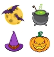 Halloween cartoon icon objects vector image