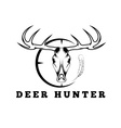 deer skull with target and feather design template vector image