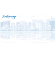 Outline Anchorage skyline with blue buildings vector image