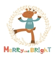 Merry and bright card with cute deer boy vector image