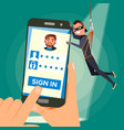 thief stealing personal data hacker vector image