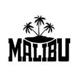 Typography graphics Malibu Beach California vector image