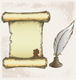 Parchment scroll and feather vector image