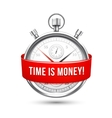 Stopwatch with Red Banner Stating Time is Money vector image