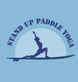 flat design style of stand up padlle yoga lo vector image