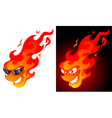 smiling cartoon fire ball vector image vector image