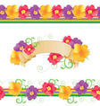 Flowers and butterflies borders Vector Image