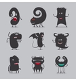 Cute black monsters icons vector image