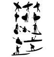 Surf and Canoe Silhouettes vector image