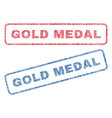 gold medal textile stamps vector image