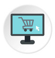 purchase at online store through computer icon vector image
