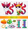 Red magic cat with toys and clothing vector image