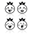Royal baby little prince icons set vector image