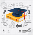 infographic Template with book and Graduation cap vector image