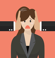 Business woman was covered ears by other man vector image