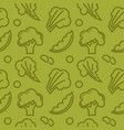 broccoli branch lettuce leaves and small beans vector image