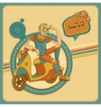 Card with young man on scooter in retro style vector image