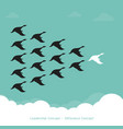 flock of a duck flying in the sky leadership vector image