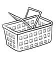 doodle shopping basket vector image vector image