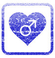male love heart framed textured icon vector image