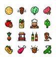 shawarma icons set vector image vector image
