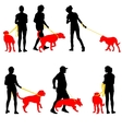 Silhouettes of people and dogs vector image