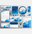 abstract blue business stationery set for your vector image