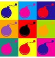 Bomb sign Pop-art style icons set vector image