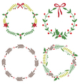 Christmas Circle Borders Wreaths Frames vector image