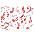 Music notes doodles vector image