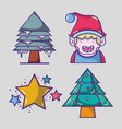 set merry chrstmas decoration design vector image