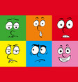 six facial expressions on different background vector image