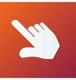 Paper Hand Cursor in Perspective on Orange vector image