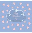 Happy Valentines Day Love card Cloud contour line vector image