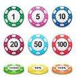 Gambling casino poker stack chips color sign vector image